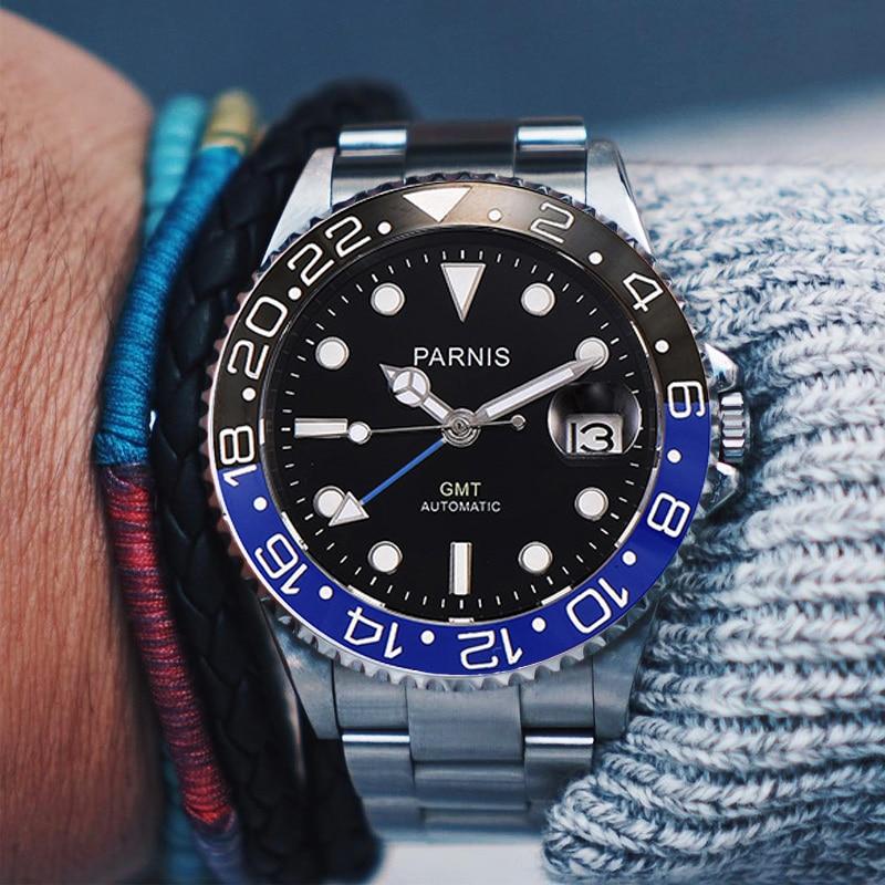 Parnis 40mm Automatic Mechanical Watch Men Luxury Brand GMT Sapphire Crystal Ceramic Bezel Luminous Waterproof Male Wristwatch