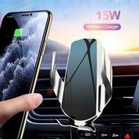 Беспроводной автомобильный держатель для телефона KMPTE 15 Вт Qi, зарядное устройство, интеллектуальная инфракрасная Быстрая зарядка для iPhone 12,...