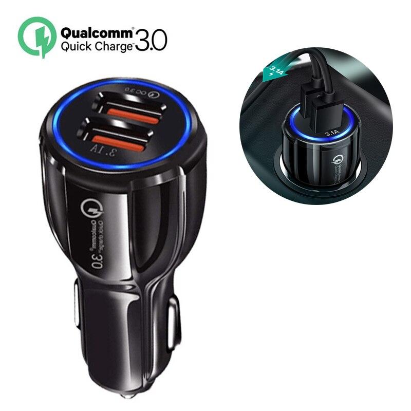 Carregador de carro 3.0 portátil 5v 3.1a, carregamento rápido, gps, dual usb, para iphone, samsung carregador usb duplo huawe