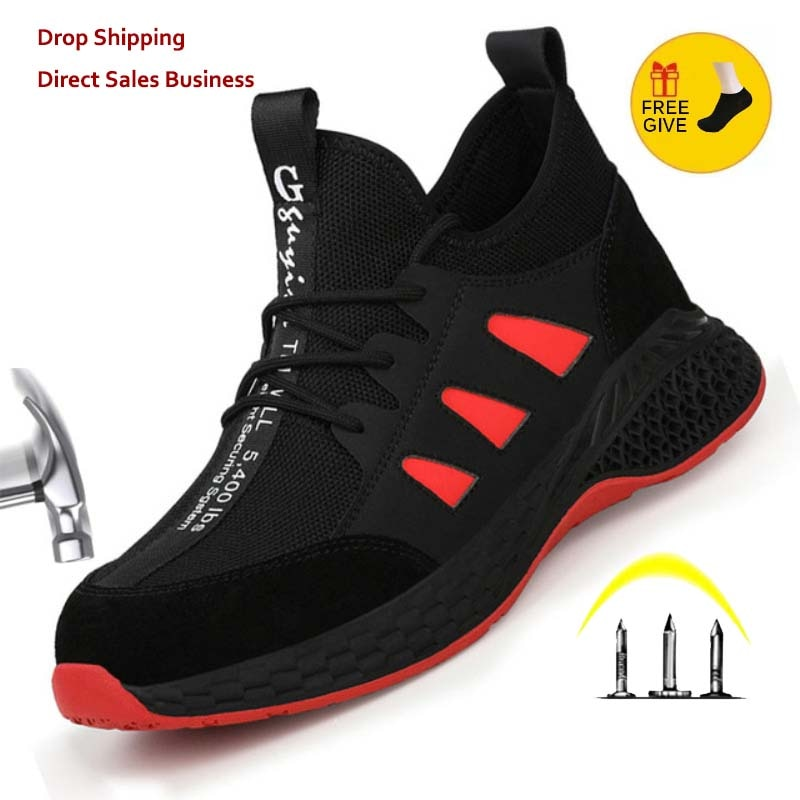 Work Safety Boots Men Shoes Sneakers Breathable Anti-Smashing Lightweight Work Boots Indestructible