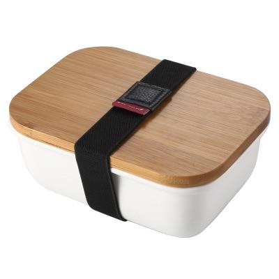Caja rectangular de cerámica de estilo japonés para mantener fresco, recipiente para mantener fresco, caja para el frigorífico, caja de fruta, fiambrera de microondas l