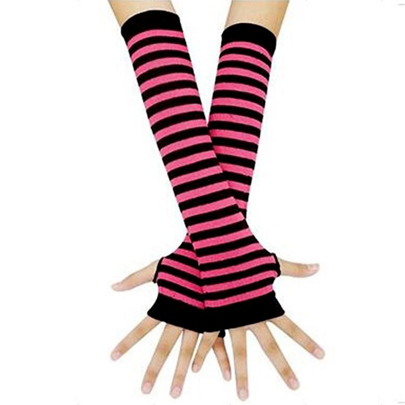 Fingerless Gloves Arm Sleeve Anime Women Fishnet Sports Emo Punk Striped Hand Warmer Mesh Long Gloves Cotton Fashion Sleeves