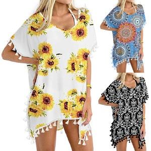 Women Swimwear Beachwear Women Bikini Beach Wear Loose Bikini Cover Up Tops Chiffon Tassels Ladies Summer Beach Swimwear