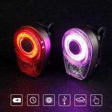 Vélo feu arrière vélo siège poste lampe davertissement visuelle USB Rechargeable cyclisme vtt rond arrière arrière lanterne de sécurité COB LED