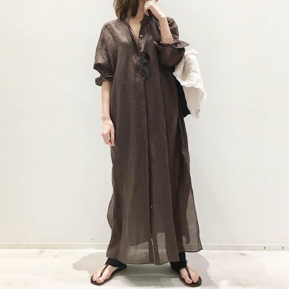 Japanese Korean Style Summer 2021 Women's Dress Single-breasted Solid Color Simplicity Retro Round N