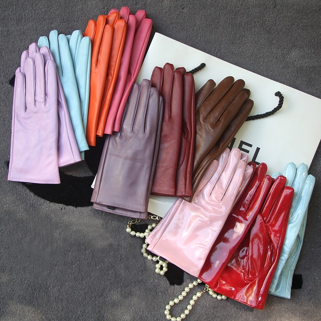 Elegant Women Gloves Genuine Lambskin Real Leather Sheepskin Autumn And Winter Plus Velvet Trendy Female Short Glove 27 Colors