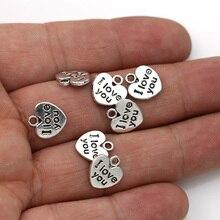 JAKONGO 20 pièces Antique argent plaqué je taime coeur breloques pendentifs pour la fabrication de bijoux bricolage accessoires faits à la main