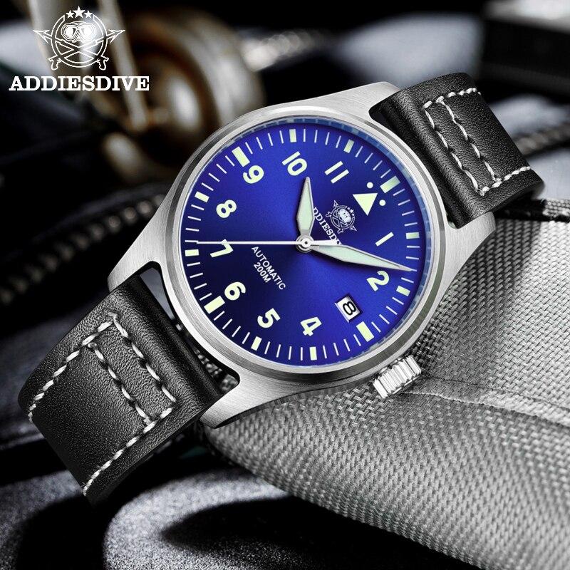 Addies Dive Pilot Watch Automatic Mechanical Diver Watch C3 Luminous divers watch Sapphire Crystal 200m dive watch men's watch