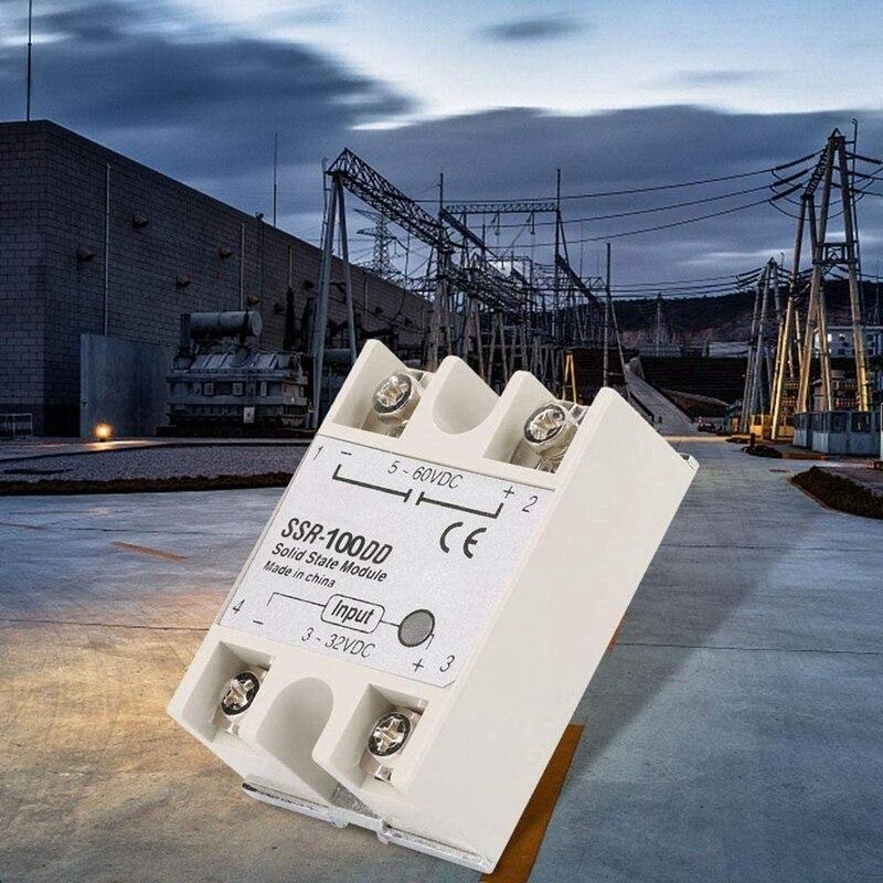 Relé de estado sólido SSR-100DD 100a 3-32v entrada dc para 24-220v dc ssr 100dd SSR-100 dd controle da indústria