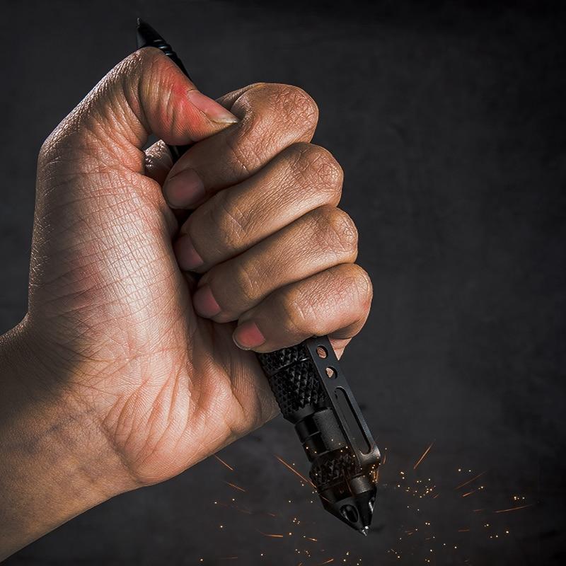 Edc portátil ao ar livre auto defesa caneta tática ii tungstênio dteel cabeça multiuso stinger anti-skid disjuntor de vidro de emergência