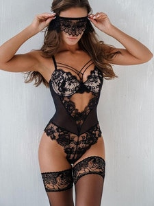 Spring Winter Women Homewear Bodysuit Hollow Out Lingerie Spaghetti Strap Lace Trim Cutout Sexy Teddy With Mask