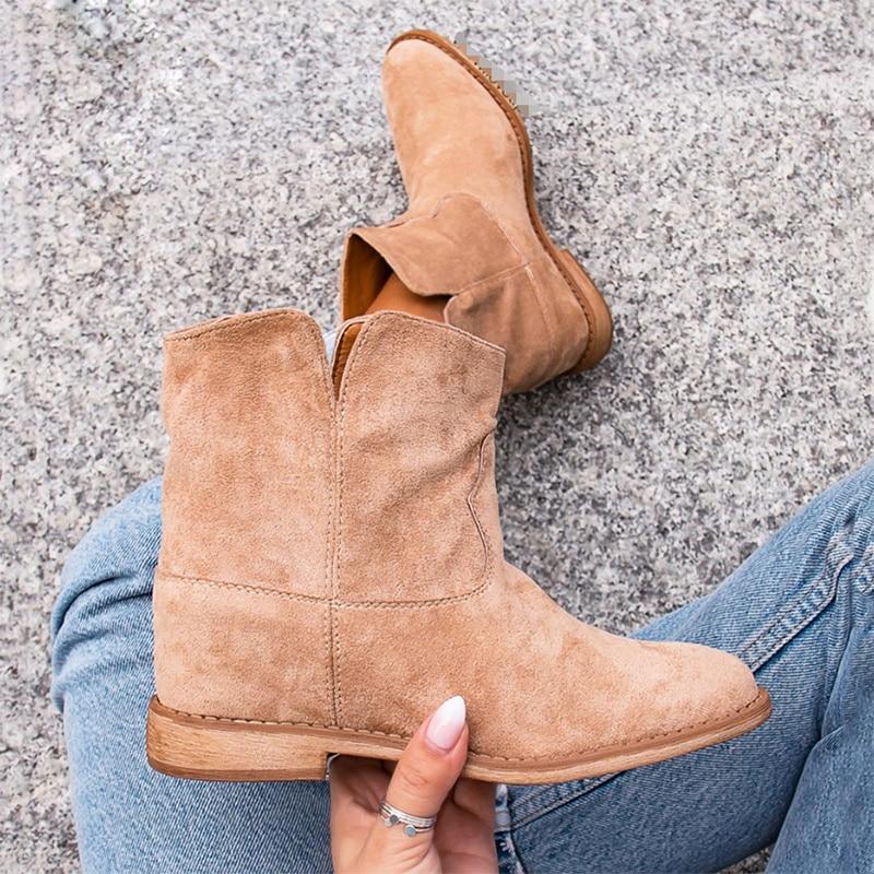 2021 امرأة أحذية الشتاء فو الجلد المدبوغ الرجعية الثلوج كاوبوي الأحذية الإناث الدافئة الارتفاع زيادة حذاء كاجوال التمهيد AC086
