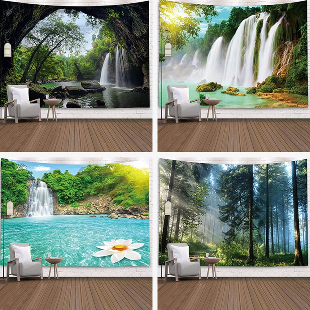 Tapiz de Paisaje de plantas de bosque Natural de 95x73cm, tapiz de paisaje, tapiz colgante de pared, colcha Hippie de Mandala, decoración del hogar Bohemia