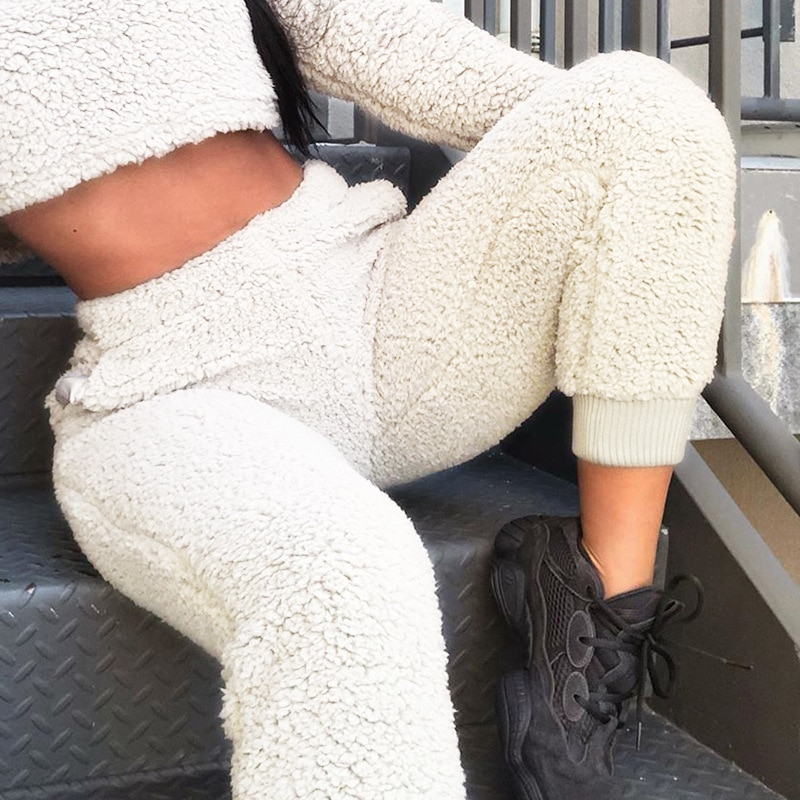 Women's Thick Lamb Wool Casual Pants New Fleece Sports Pants Harajuku Joggers Sweatpants Warm Plush Pants