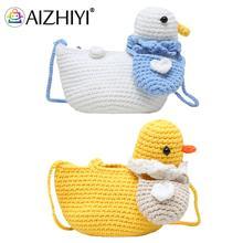 Children Cute Knit Hit Color Duck Shape Crossbody Shoulder Messenger Bag Casual Ladies Mini Handbags