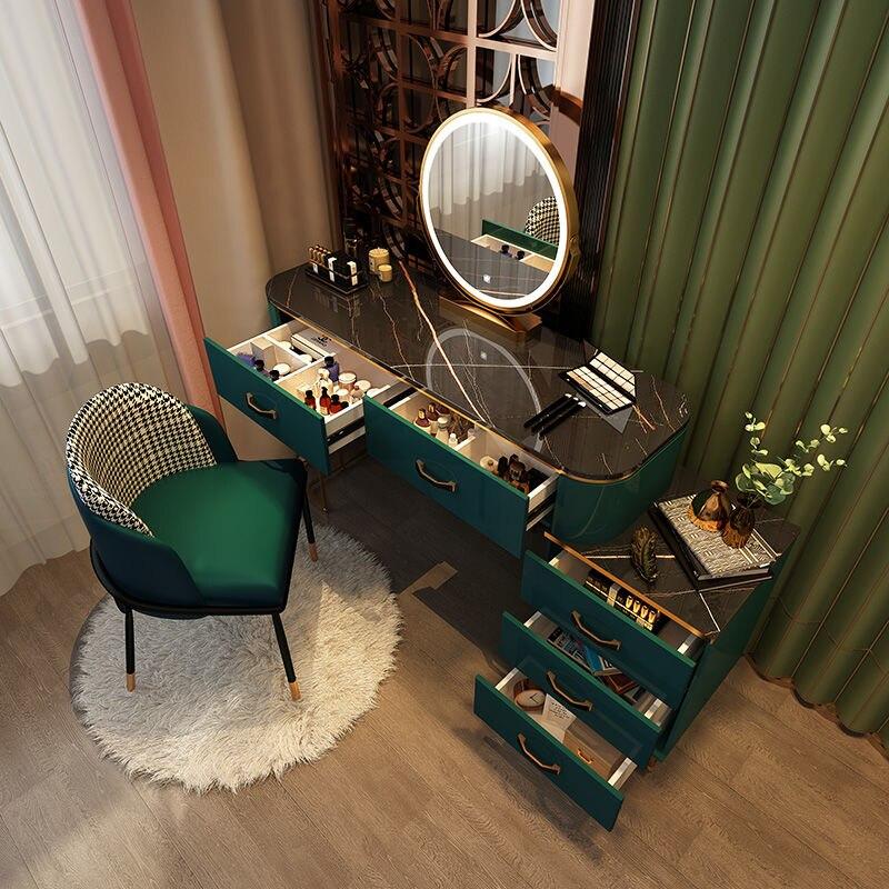 أثاث غرفة نوم حديثة بسيطة أثاث تزيين منزلي مضمد مضيء فاخر منضدة تزيين للمكياج كرسي تزيين