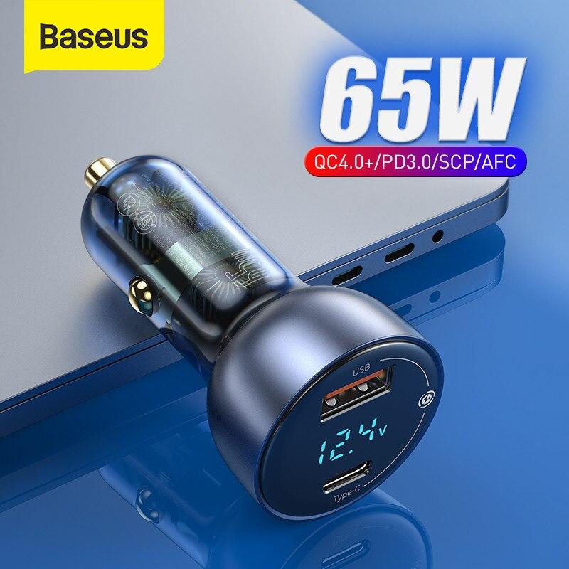 باسيوس 65 وات PD شاحن سيارة QC 4.0 QC 3.0 شاشة LED نوع-C شاحن سريع شاحن سريع لايفون شاومي USB شاحن هاتف في السيارة