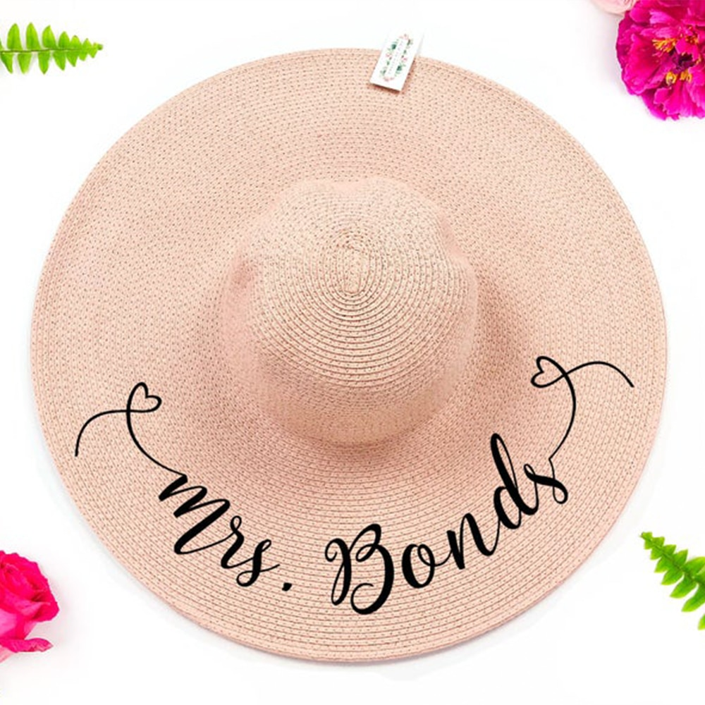 Regalo de novia personalizado, paquete de grupo de sombrero de sol, paquete de sombrero flexible personalizado, sombrero de fiesta de despedida de soltera, regalo de despedida de soltera, señora, novia personalizada