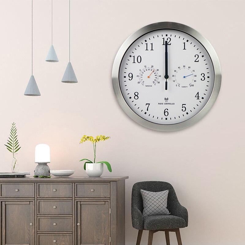 ماكس الرئيسية 10 بوصة على مدار الساعة التلقائي تعديل الوقت المسح الضوئي ساعة للتحكم في الراديو درجة الحرارة الرطوبة ساعة حائط تصميم هادئ