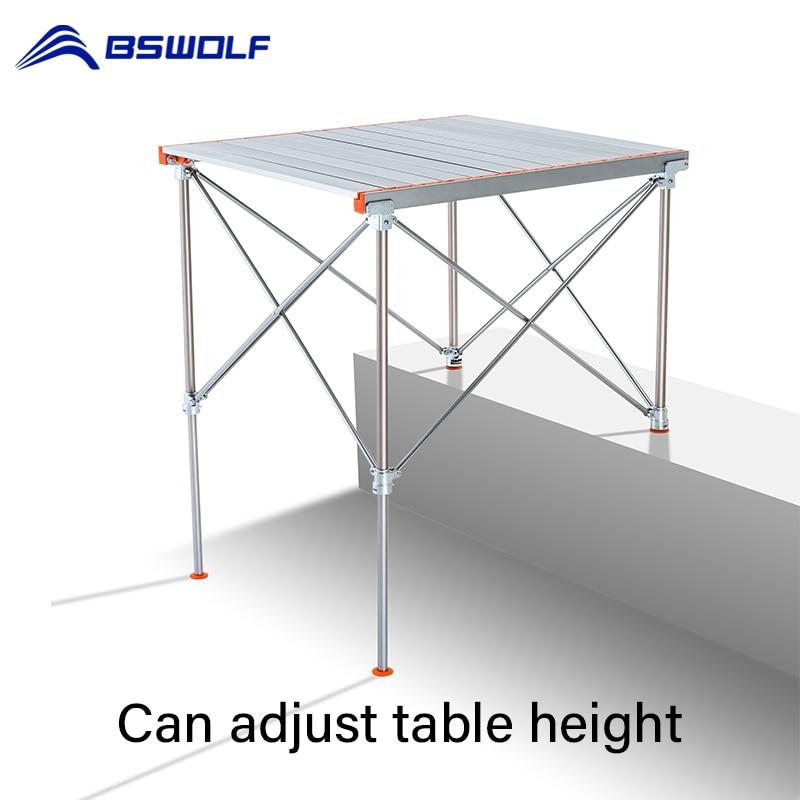 BSWolf-mesa plegable para acampar, escritorio de picnic de aleación de aluminio, pierna...