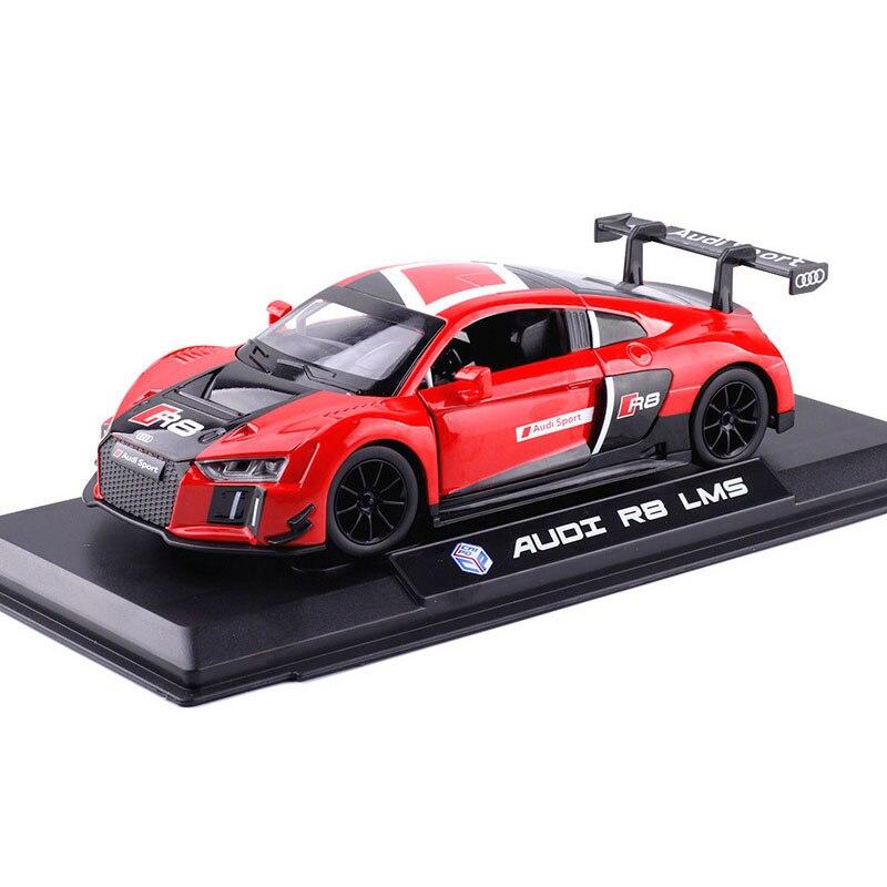 124 carro de brinquedo, modelo de carro de brinquedo diecast, veículo de brinquedo, Audis-R8 lms, carro de corrida, som e luz, porta de carro aberto para presente do carro dos brinquedos dos miúdos