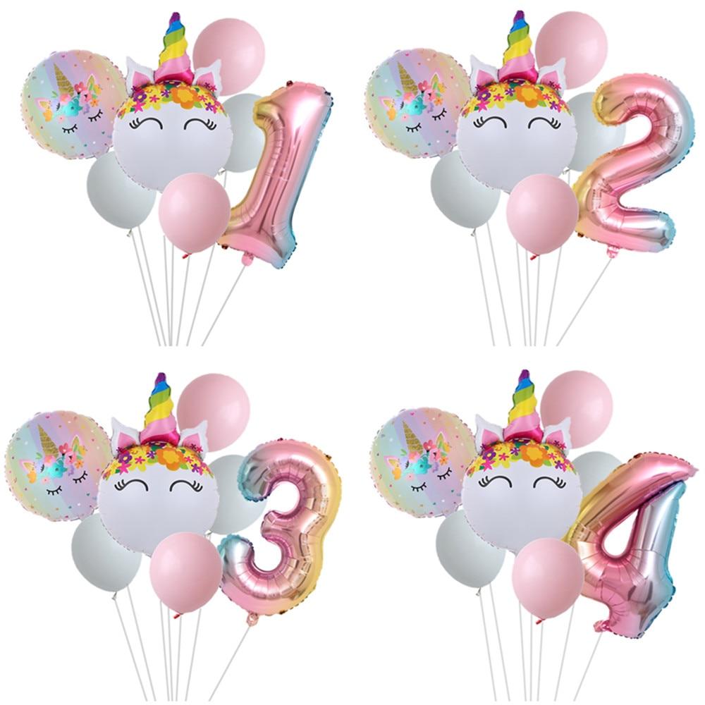 Rainbow Unicorn Balloon Number Foil Globos 1 2 3 4 Years Old Birthday Party Decoration Kid Unicorn Theme Party Wedding Balls Toy