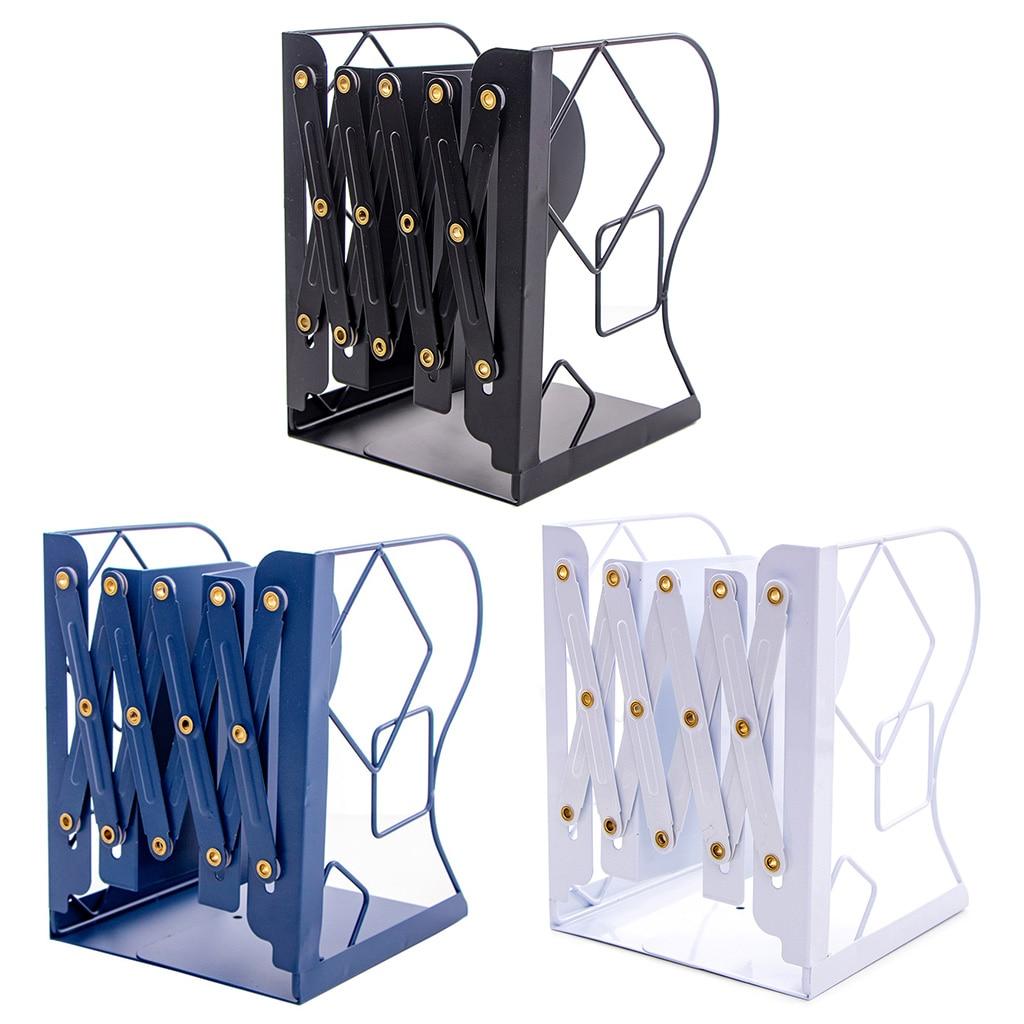 Retractable Book Support Stand Telescopic Metal Bookends Shelf Bookrack Organizer Home School Office Supplies