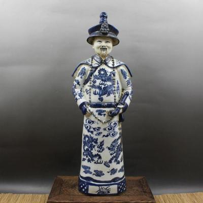 Azul e Branco. Retrato de Yongzheng Decoração de Casa Retro Requintado Escultura