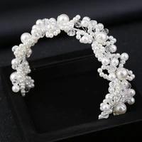 bride accessories handmade turbine hair headpiece accessories crystal bead crown korean sweet headband jewelry