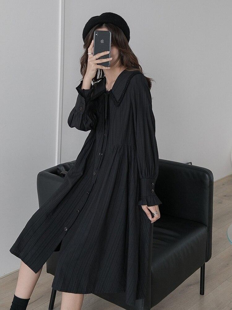 Платье принцессы в стиле лесной девочки, платье с воротником, новинка весны 2021, Длинная черная юбка с длинным рукавом