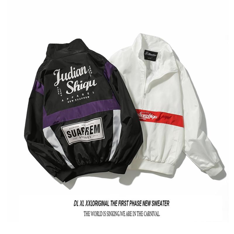 Chaqueta Vintage para hombre con cremallera a prueba de viento, chaqueta Bomber de cuello alto para hombre, Anorak de Hip Hop, ropa informal japonesa 5J50