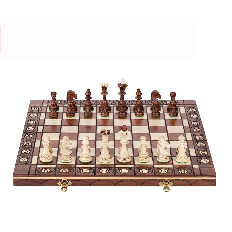 Luxury Big Chess Set Tournament Crafted Handmade Solid Wood Retro Classic Board Games Family Gra Planszowa Kids Chess Gift E5