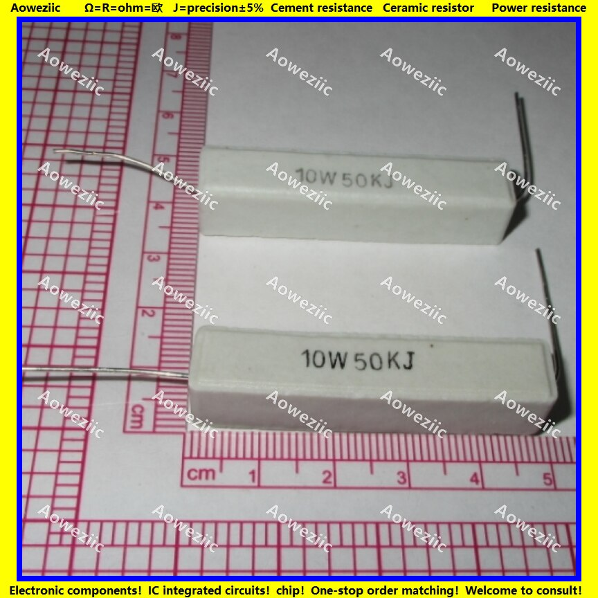 10 pçs rx27 resistor de cimento horizontal 10 w 50 k ohm 10w50kj 10w50k 50000 ohm resistência cerâmica 5% resistência energia