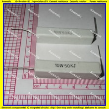 10Pcs RX27 Horizontale zement widerstand 10W 50K ohm 10W50KJ 10W50K 50000 ohm Keramik Widerstand präzision 5% Power widerstand