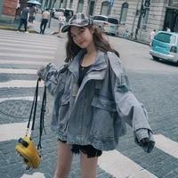 cowboy short coat women spring and autumn new korean wind loose joker retro harbor trench coat