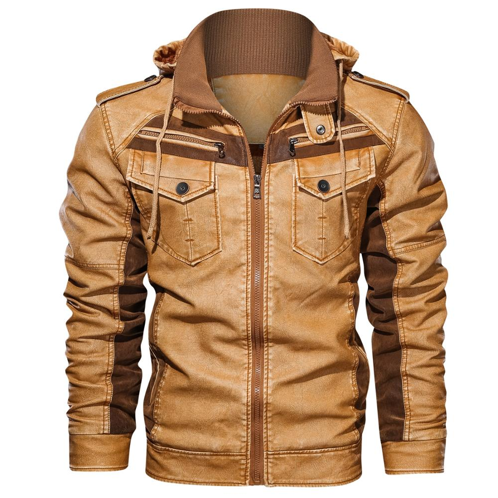 Winter Men's Leather Jackets Fleece Thick Mens Hooded Motorcycle PU Coats Male Fashion Outwear Brand Clothing