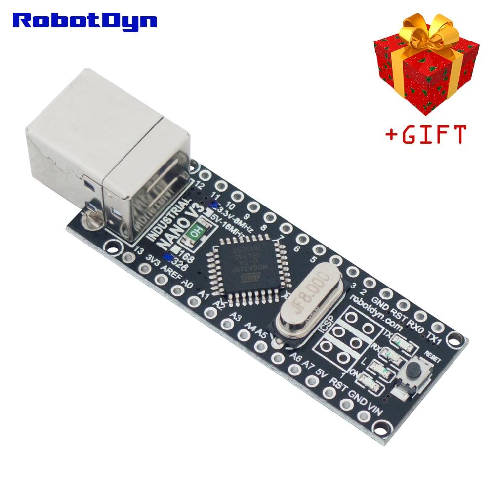 NANO V3 Industrial 3,3 V/5 V lógica CH340C... ATMega168/328 USB-B w/o Pinheaders o soldado (Arduino compatible)