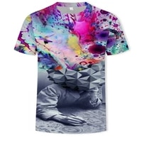 hip hop style painted graffiti mens t shirt oversized t shirt fashion creative personality short sleeved streetwear 3d printing