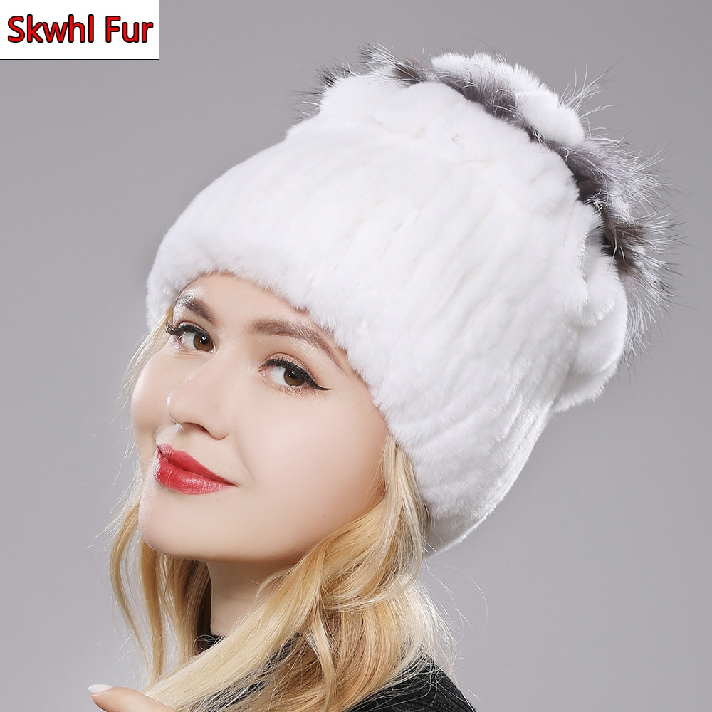 Hot Sale Russia Winter Quality Real Fur Hat Natural Warm Rex Rabbit Fur Cap Lady Warm Knitted 100% G