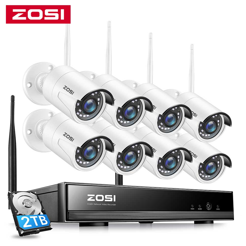ZOSI 1080P اللاسلكية نظام الدائرة التلفزيونية المغلقة 8CH قوية H.265 + NVR 8 قطعة 2MP IP رصاصة كاميرا تلفزيونات الدوائر المغلقة واي فاي نظام الأمن المراقب...