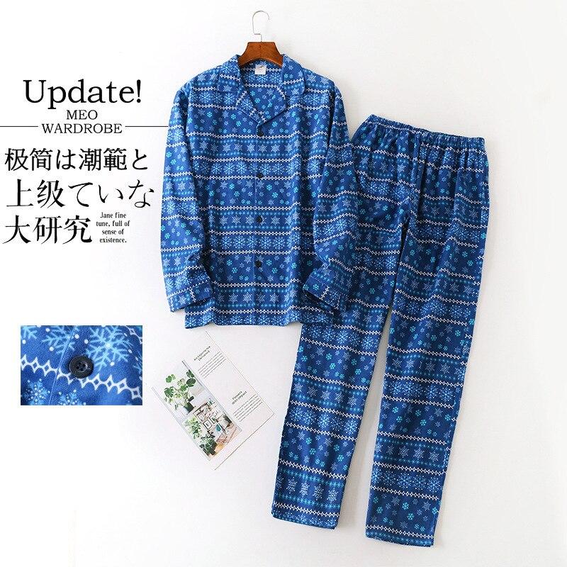 Весна Простой 100% 25 Хлопок Пижамы Комплекты Мужчины Пижамы Плюс Размер Японский Повседневный С длинным рукавом Брюки Пижамы Мужчины Горячие Распродажа