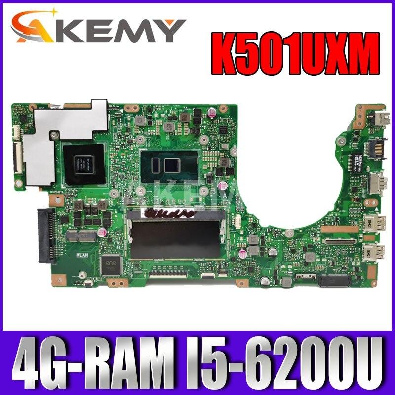 Akemy جديد! K501UXM اللوحة لابتوب Asus K501UW K501UXM K501UQ اللوحة الأصلية DDR4 4G-RAM I5-6200U GTX950M-2GB