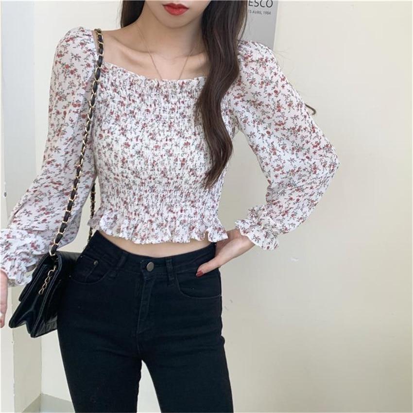 2021 Summer Women Floral Print Crop Top Harajuku Off Shoulder Shirt Femme