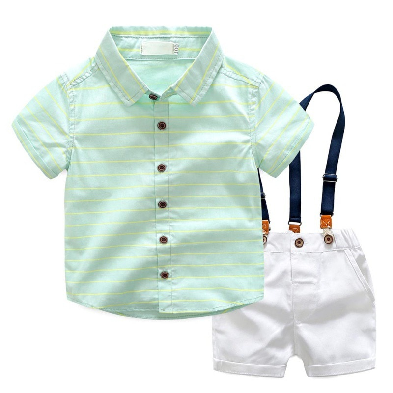 2017 conjuntos de ropa para niños verano niños Caballero rayas camisas + pantalones cortos de tirantes 2 piezas conjunto de ropa para fiesta de niños