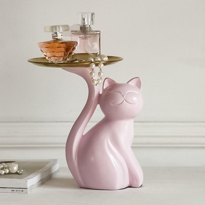 الشمال الإبداعية القط تمثال صينية الفن الحديث الراتنج الحيوان صينية للفاكهة حلية إكسسوارات ديكور منزلي غرفة ديكور