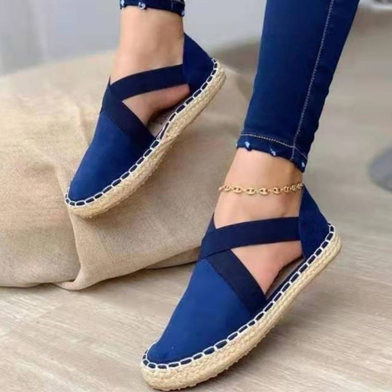 2021 New Women's Straw Flat Shoes Sandals Plus Size Flock Comfortable Ladies Shoes Solid Outdoor Leisure Women Sandals Concise