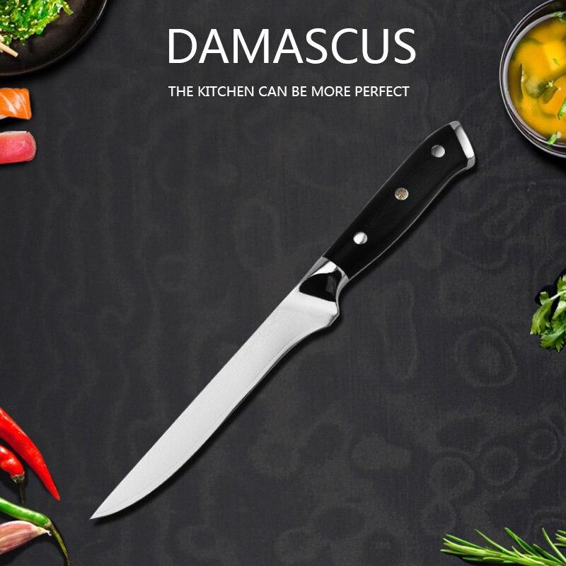 Damasco cuchillo para deshuesar G10 palo Cuchillo de cocina de acero inoxidable...