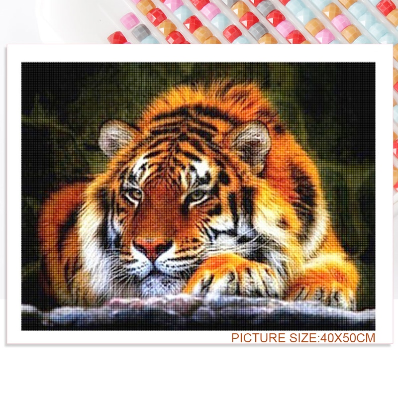 5D Diamond Painting Diy Animal Can Be Set Wall Decoration Supplies Bedroom Living Room Home White Tiger and Yellow Tiger  - buy with discount