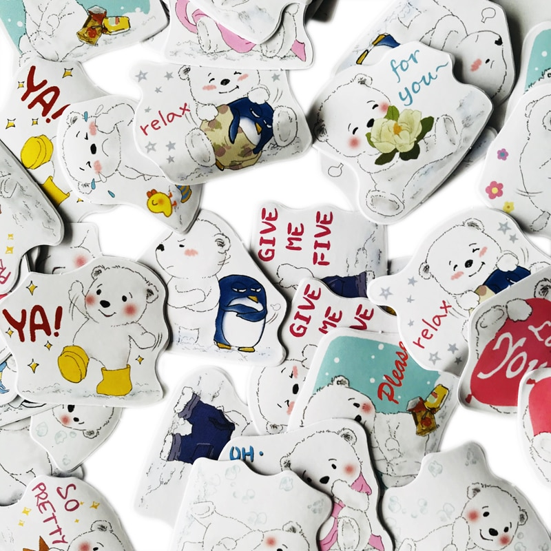 45 pcs/Pack Cute Polar Bear Litter Stickers DIY Decorative Sealing Paste Stick Label Stationery Kids Gift 15 Designs