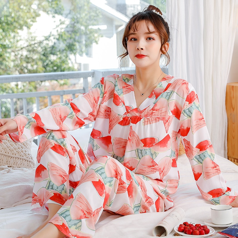 Long-Sleeved Viscose Staple Fiber Pajamas Female Spring and Autumn Faux Silk Tracksuit Cute Student